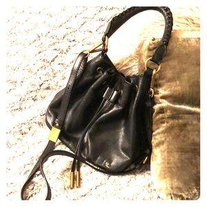 ELLIOTT LUCCA Black Leather Drawstring Hobo Bag